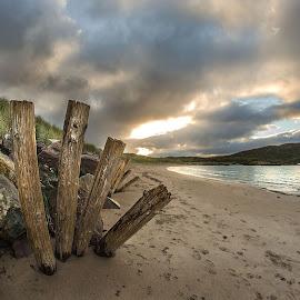 Sunrise on the West Coast of Ireland by Massimo Crisafi - Landscapes Beaches ( footprints, cloudy, sea, beach, sunrise )