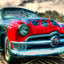 Behind the 8 Ball by David Kawchak - Transportation Automobiles ( custom classic car, classic car, custom classic car with flames, car with flames, retro classic car )