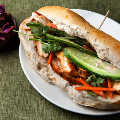 Chicken Banh Mi with Sesame Cabbage Salad