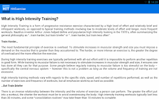 Screenshot of HIIT Exercise Training Guide