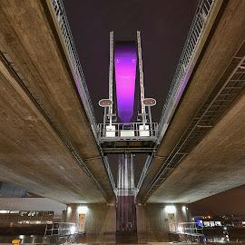 FMV Bridge by Ronny Svendsen - Buildings & Architecture Bridges & Suspended Structures ( water, lights, fredrikstad, night, bridge )