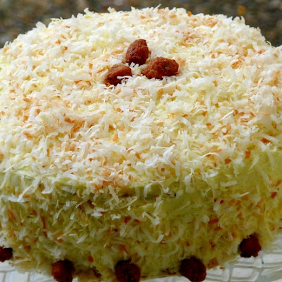 Bobby Flay's Throwdown Toasted Coconut Cake with Coconut Filling and Coconut Buttercream