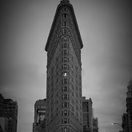 Single Light by Victor Mirontschuk - Buildings & Architecture Office Buildings & Hotels ( building, b&w, exterior, nyc, architecture )