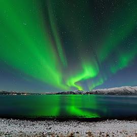 Aurora reflection by Marius Birkeland - Landscapes Waterscapes ( reflection, northern lights, aurora borealis, aurora, reflections,  )