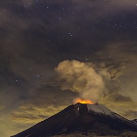 Eruption iwht the stars by Cristobal Garciaferro Rubio - Landscapes Mountains & Hills ( snow, smoking volcano, eruption, starscape, smoke )