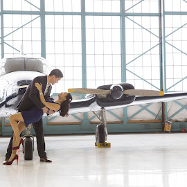Two Pilots by Brooke Green - People Couples ( couple portrait, airplane, couple, portrait, engagement )