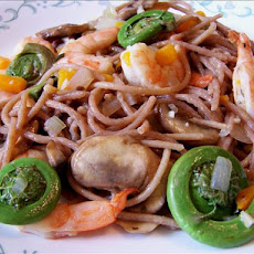 Fiddlehead Ferns and Shrimp over Linguine