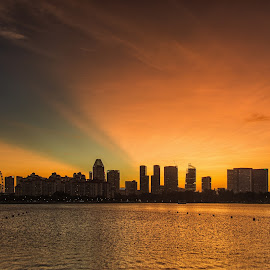 Post Sunset in the City by Kristianus Setyawan - Landscapes Sunsets & Sunrises ( skyline, sunset photography, silhouette, cityscape, sunset landscape, singapore, nature landscape, city, city landscape, sky, nature, sunset, city silhouette, skyporn, nature photography, skyscape )