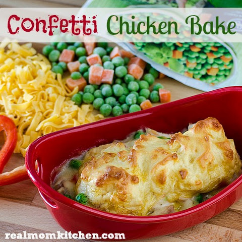 Confetti Chicken Bake with Cheddar Biscuit Topping Recipe | Yummly