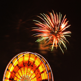 Saskatchewan Exhibition by Janet Gilmour-Baker - News & Events Entertainment ( bright, colorful, saskatchewan, scene, fireworks, night, exhibition, ferris wheel )