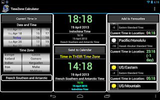 Screenshot of TimeZone Calculator