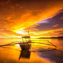 Burning Sky by Ade Noverzan - Landscapes Sunsets & Sunrises ( padang, sunset, twilight, beach, boat, dusk )
