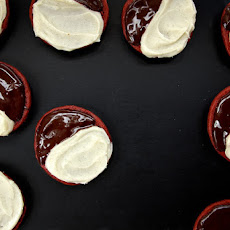 Red Velvet Black and White Cookies