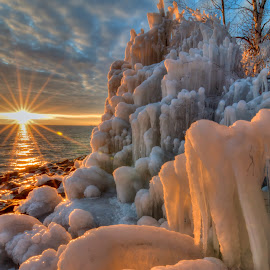 Superior Sunset by David Johnson - Landscapes Waterscapes ( sculptures, sky, sunset, ice, lake superior )