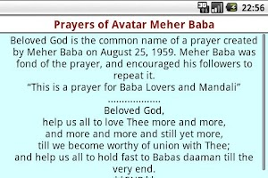 Screenshot of Prayers of Avatar Meher Baba