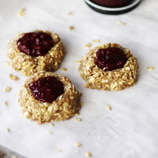 Oat and Cashew Thumbprint Cookies With Berry Chia Jam [Vegan]
