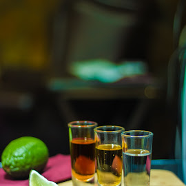 Tequila by Brian Biggs - Food & Drink Alcohol & Drinks ( tequila, shots, alchohol, lime, napkin )