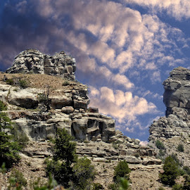 Chimney Rock National Monument by Sandy Scott - Digital Art Places ( mountains, chimney rock national monument, colorado, national momuments, landscapes,  )
