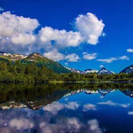 Reflections  by Jason Holden - Landscapes Mountains & Hills ( mountains, alaska, lake )