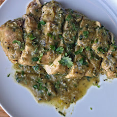 Dinner Tonight: Baked Chicken with Roasted Tomatillo Cream Sauce
