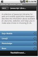 Screenshot of Javascript Libraries Catalog