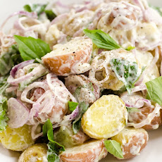 Mixed New Potato Salad with Sweet Basil and Shallots