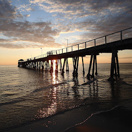 Sunset behind the jetty by Pamela Howard - Landscapes Sunsets & Sunrises ( water, clouds, sand, sunset, sea, beach, jetty )