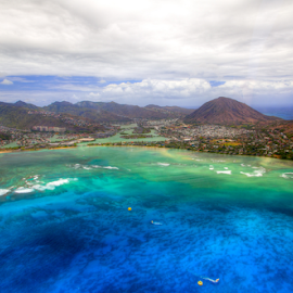 Aerial view of Oahu by Leah Varney - Landscapes Beaches ( water, mountains, ocean, beach )