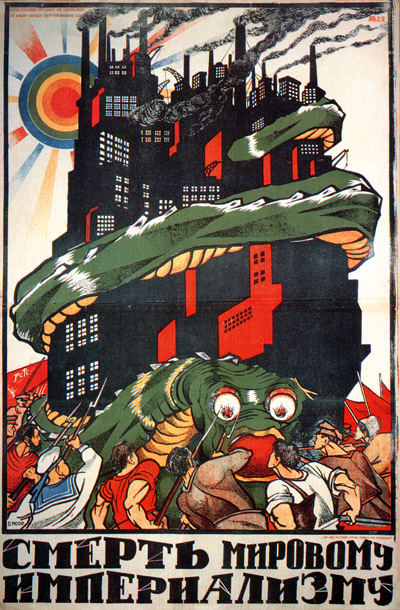 The antagonist stands exposed, trying to break free from the trap it created for itself, with all its tentacles in fine view.Soviet era poster declaring 'Death to Global Imperialism'