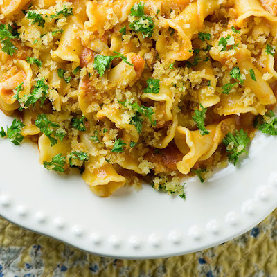 Pasta with Clams, Vodka Sauce and Crispy Breadcrumbs