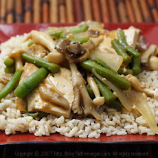 Maitake and Beech Mushrooms with Simmered Tofu on Sesame Rice