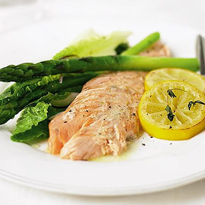 Salmon Baked With Herbs & Caramelised Lemons