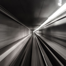 Skytrain Tunnel by Cory Bohnenkamp - Transportation Trains ( abstract, long exposure, transit, skytrain, tunnel )
