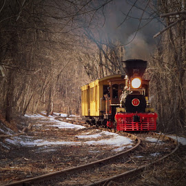 by Skye Stevens - Transportation Trains ( winter, locomotive, steam train, snow, train, transportation,  )