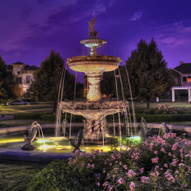 Village Fountain by Dennis McClintock - City,  Street & Park  Fountains ( water fountain, city parks, fountain at night, water fountain challenge, city street,  )