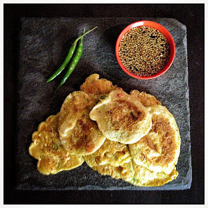 Kimchi pancakes with a vinegar and soy dipping