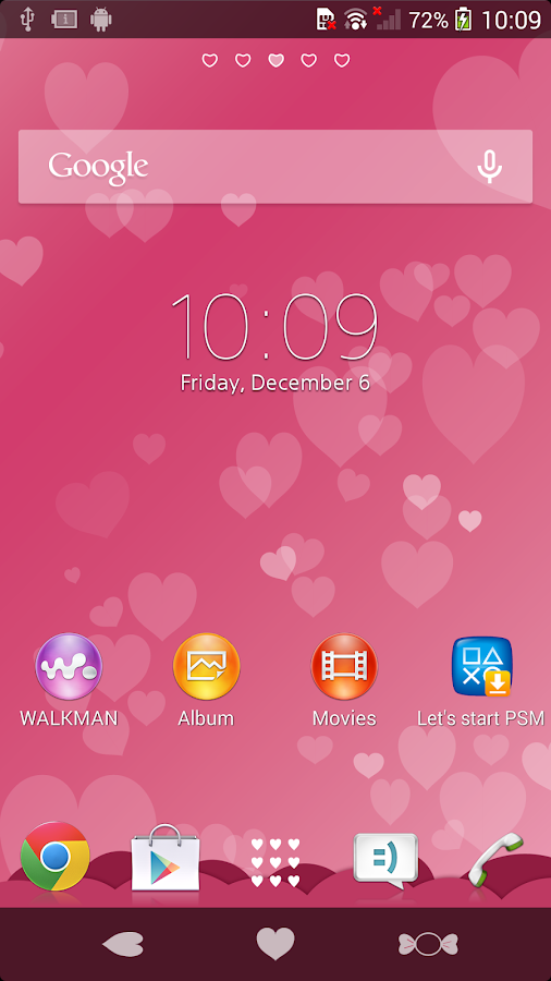 XPERIA™ Pink Hearts Theme Screenshot 1