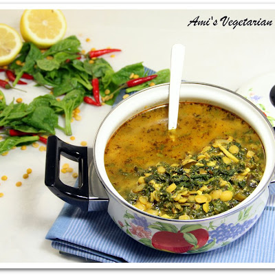 Spinach & Yellow Split Peas Soup & a Free Recipe Book Giveaway