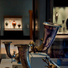 Antiquities at Getty Museum  by Jackie Stoner - Artistic Objects Antiques ( horns, getty, getty villa, malibu, museum, brass, getty museum )