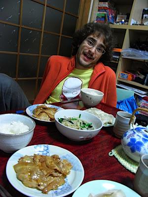 cerdo teriyaki gyoza salteado de verduras y setas 豚の照り焼き 焼き餃子 野菜炒め