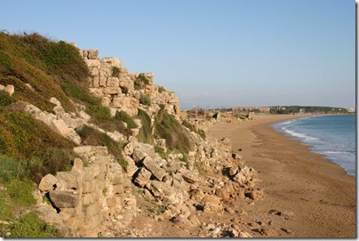 Ruins along the coastline.
