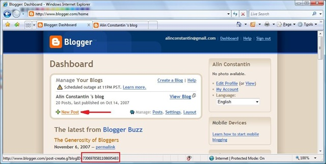 Obtaining the feed ID for your blog on Blogger