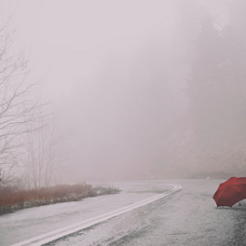 Red Lullaby by LiHo Photography - City,  Street & Park  Street Scenes ( concept, mystical, selective color, fog, red umbrella, helena mim, street scene, road, landscape, winter tree, misty )