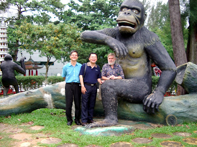 Victor Koo, Lam Chun See and John Harper with the gorilla