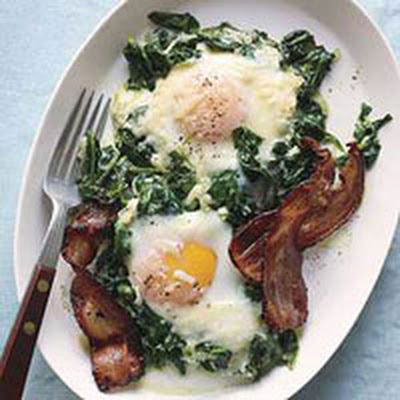 Creamed Spinach with Eggs & Bacon