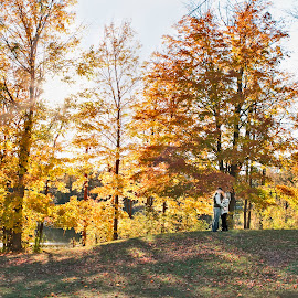 Fall time for the pair! by Kimberly Arend Porter - People Couples ( marriage photography, foliage, fall, landscape, couples )