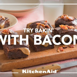 Bourbon Caramel Topped Bacon Brownies