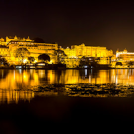 Lake City - Udaipur by Amit Aggarwal - City,  Street & Park  Night ( canon, reflection, rajasthan, udaipur, city palace, long exposure, india, yellow, golden )