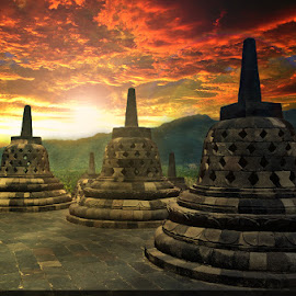 sunset in borobudur.indonesia by Alan Lee - Landscapes Travel