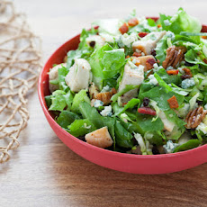 Chopped Chicken, Bacon & Brussels Sprouts Salad with Blue Cheese, Currants & Sherry Vinaigrette